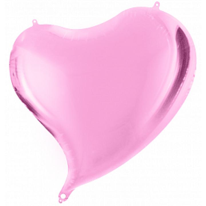 Фольгированный шар сердце изгиб розовый