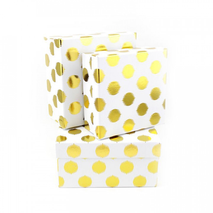 Коробка Золотые круги на белом квадрат19*19*9,5 см