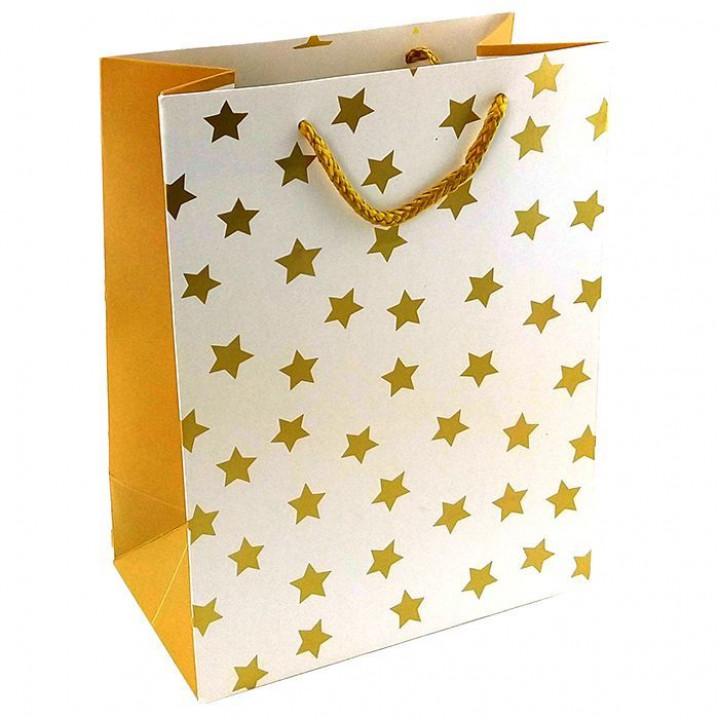 Пакет Золотые звезды на белом 18*23*10 см