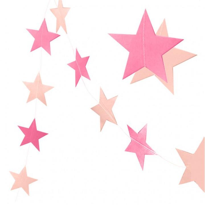 Гирлянда 3,2 м Звезды Микс Фуксия и розовый