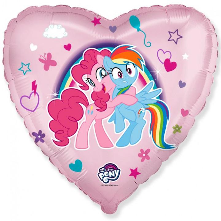 Фольгированный шар сердце Пони подружки