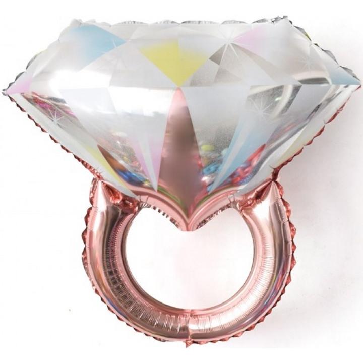 Кольцо с бриллиантом Розовое Золото