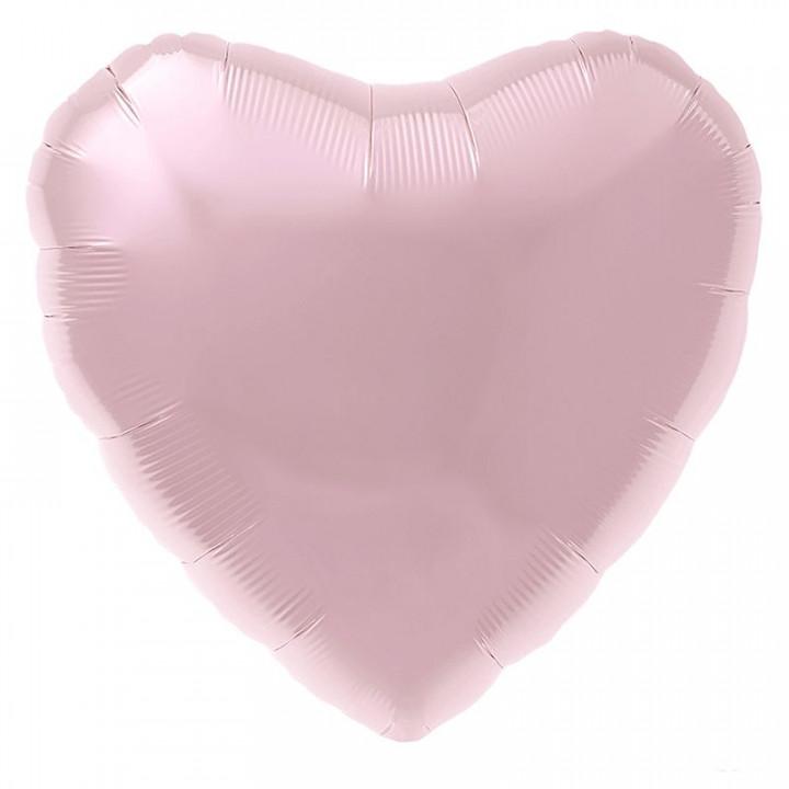 Фольгированный шар сердце Нежно-розовый