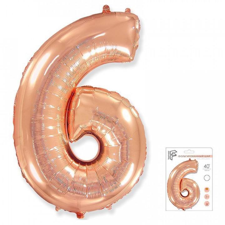 Цифра 6 розовое золото в упаковке
