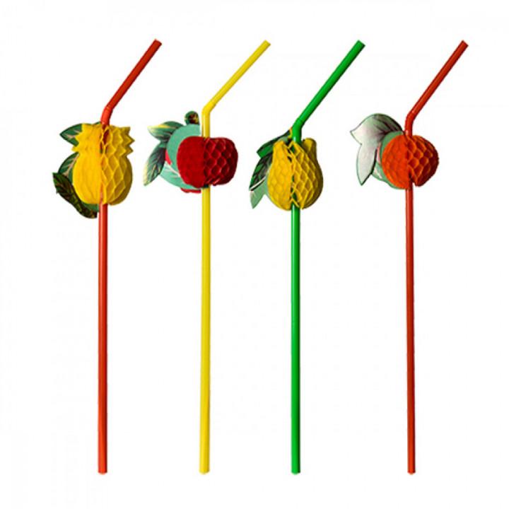 Трубочки для коктейля Фрукты 12шт