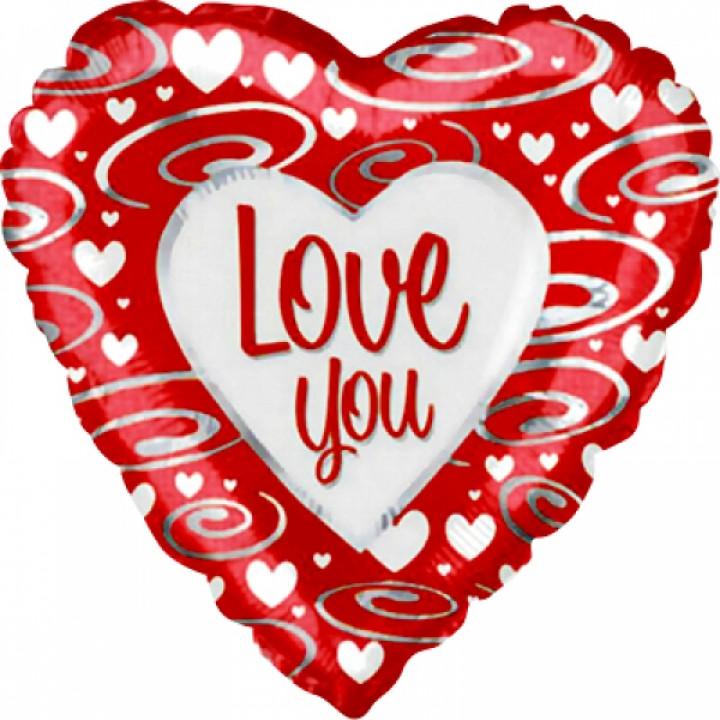 Фольгированный шар сердце Я люблю тебя (серебряные завитки)